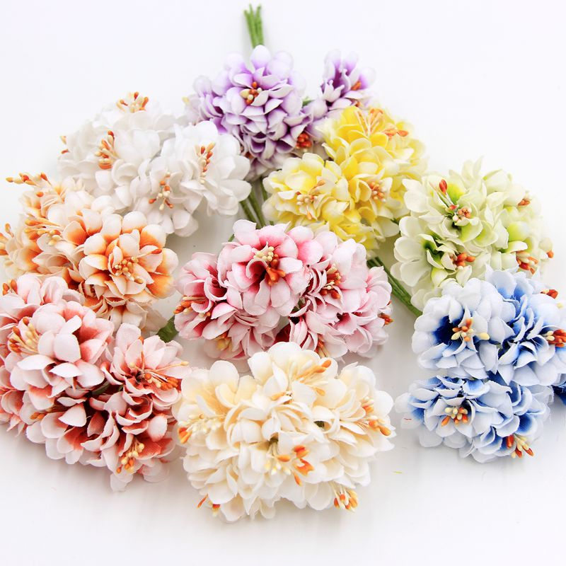 6pcs Silk Gradient Stamen Handmake Artificial Flower Bouquet Wedding Decoration DIY Wreath Gift Scrapbooking Craft Fake