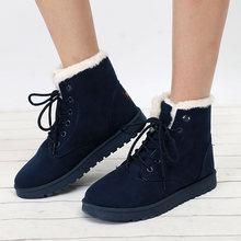 Phụ nữ Mùa Đông Ủng Ấm Dẹt Plus Kích Thước Nền Tảng Phối Ren Nữ Giày nữ 2019 Mới Đàn Lông Da Lộn mắt cá chân Giày N(China)