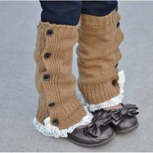 1 Pair Kids Girls New Trendy Crochet Knitted Button Lace Leg Warmers Trim Boot Cuffs Socks HOT(China (Mainland))