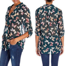 2014 brand new Fashion women blouse Tops butterfly Print Long Sleeve Shirt Blouses Size S M L(China (Mainland))