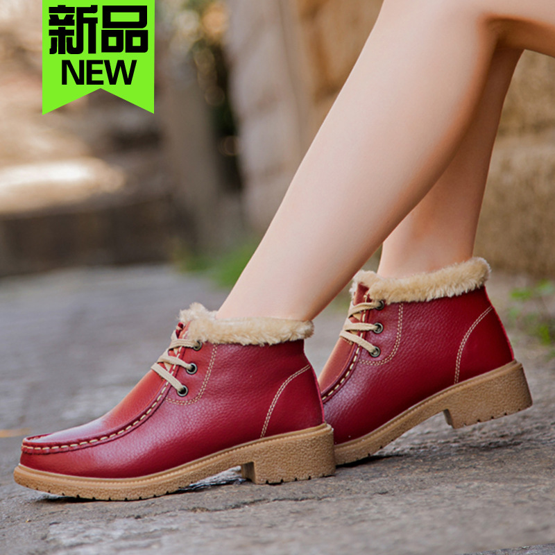 Гаджет  Hot Sale Genuine Leather Snow Boots Lace-up Cow Muscle Antiskid Plush Warm Soft Leather Fashion Winter Ankle Boots New 2015 None Обувь