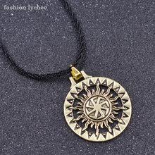 אופנה ליצ 'י סלאבית Kolovrat שמש עגול גיאומטרי תליון שרשרת זהב כסף צבע קסם חבל שרשרת גברים שרשרת(China)