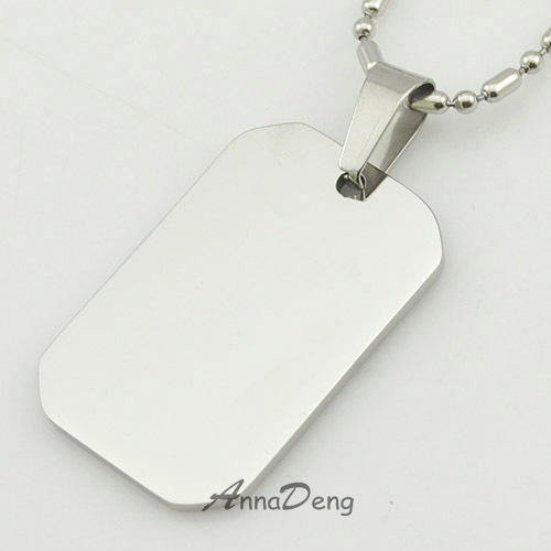 Unfilled Corner Blank Dog Tags Silver 316 Stainless Steel Pendant Necklace dog tag military Soldiers Jewelry KJP10 - AnnaDeng store