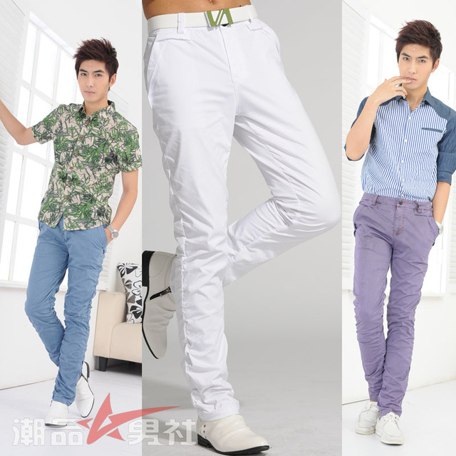 Personalized pants male fashion white slim casual pants long trousers the trend of elastic