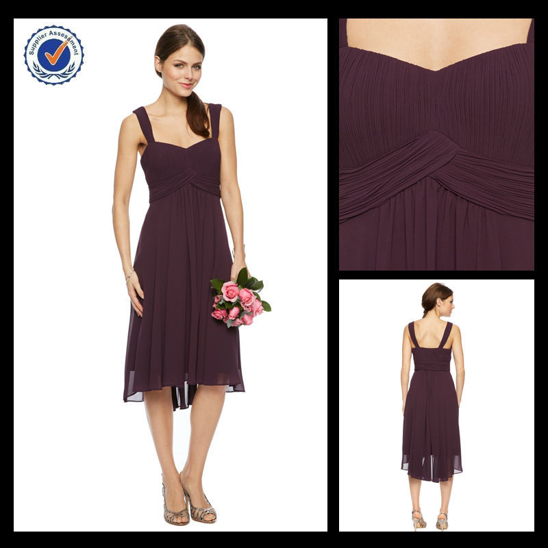 Plum Colored With Strap Tea Length Bridesmaid Dresses Bm00053 In Bridesmaid Dresses From