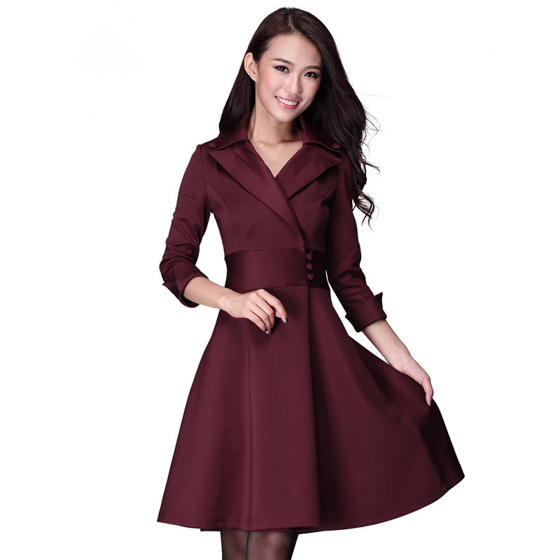 women's Medium-long plus size clothing elegant V-neck slim waist slim three quarter sleeve ol expansion bottom one-piece dress