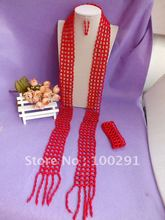 Free ship!!!Amazing!!!Scarf design Coral Necklace Bracelet Earring Set African Wedding Coral Jewelry Set(China (Mainland))