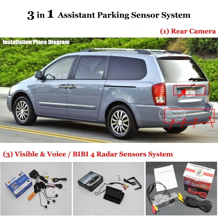 For KIA VQ / Camival / Sedona - Car Parking Sensors + Rear View Camera + 4.3 LCD Screen = 3 in 1 Visual Alarm Parking System<br><br>Aliexpress