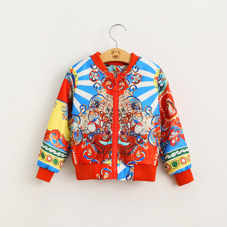 Children Wear Long Sleeve Zip Jacket Vest Dress Hoh Xil Ethnic Customs Printing Kids font b