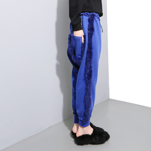 [TWOTWINSTYLE] 2016 Homemade Personality Real Rabbit Plush Side Big Pockets Haroun Pants Velvet Harem Long Pant for Women(China (Mainland))