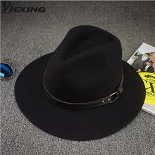 100% real woolen soft Pure wide Rims Side Winter women fedora hat Fashion Stetson Hats black hat men Fedora chapeau homme(China (Mainland))