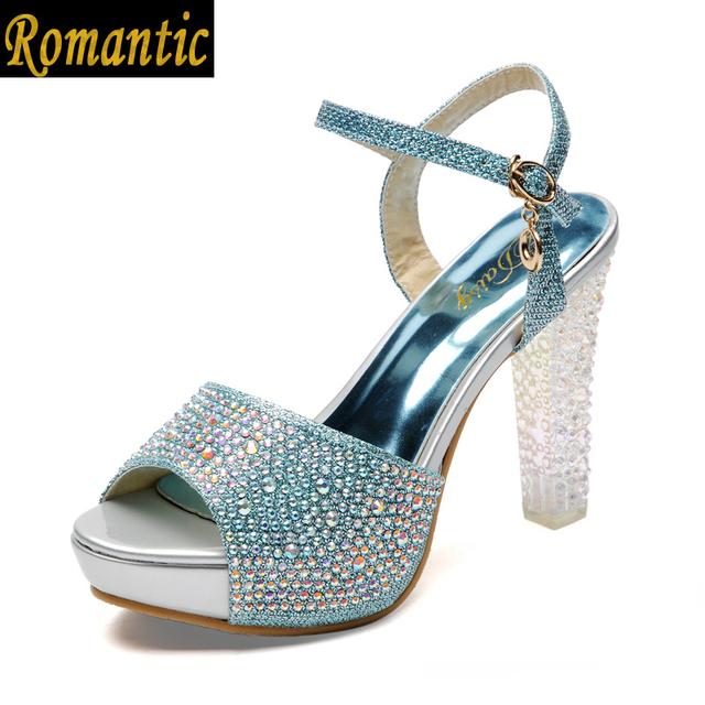 2015 новое поступление лето мода досуг сладкий цветок каблуке rhiestone патент толщиной ...