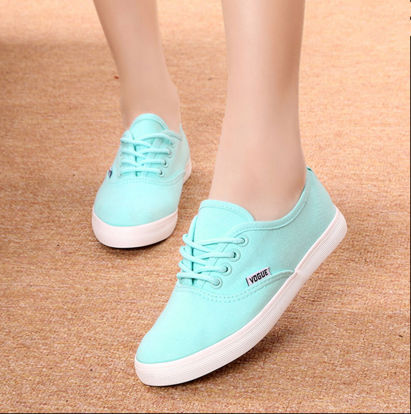 Free Shipping Women Fashion Canvas Shoes Lace-up Fashion Sneakers Candy-colored Solid Casual Shoes Size35-39<br><br>Aliexpress