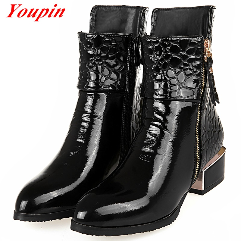 Martin Boots For Women 2015 Fashion Sleeve Boots Tip Patent Leather Shoes Black Short Tube Middle Heel Shoes Women Ankle Boots(China (Mainland))