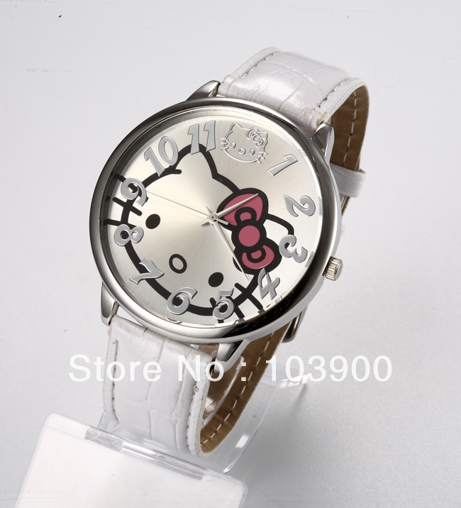 Factory price Fashion Hello Kitty Ladys children Wrist Watch Time clock hours Quartz Big numeral Dial white Leather Band<br><br>Aliexpress