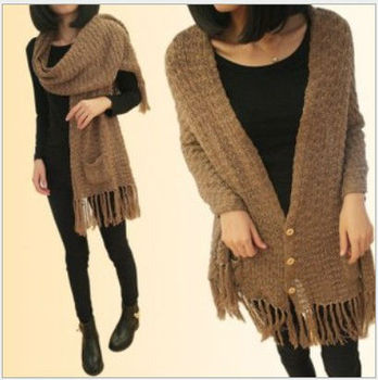 2013 autumn knitted scarf & sweater fashion ladies' sweater cashmere sweater cost wraps swing 2 colors Free Shipping