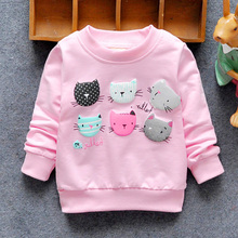 2016 New Arrival Baby Girls Sweatshirts Spring Autumn sweater cartoon 6 Cats long sleeve T-shirt Character baby kids clothes