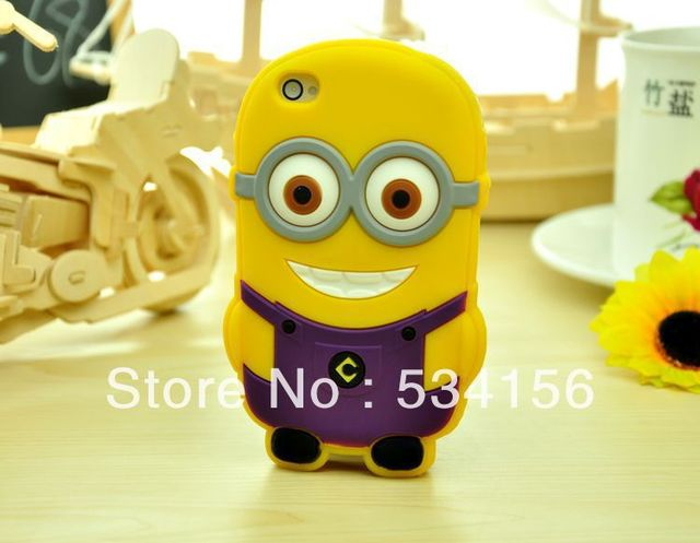 New arrival soft rubber Despicable Me minions case for iphone4 4S 5G  cell phone cases covers to free shipping.More color