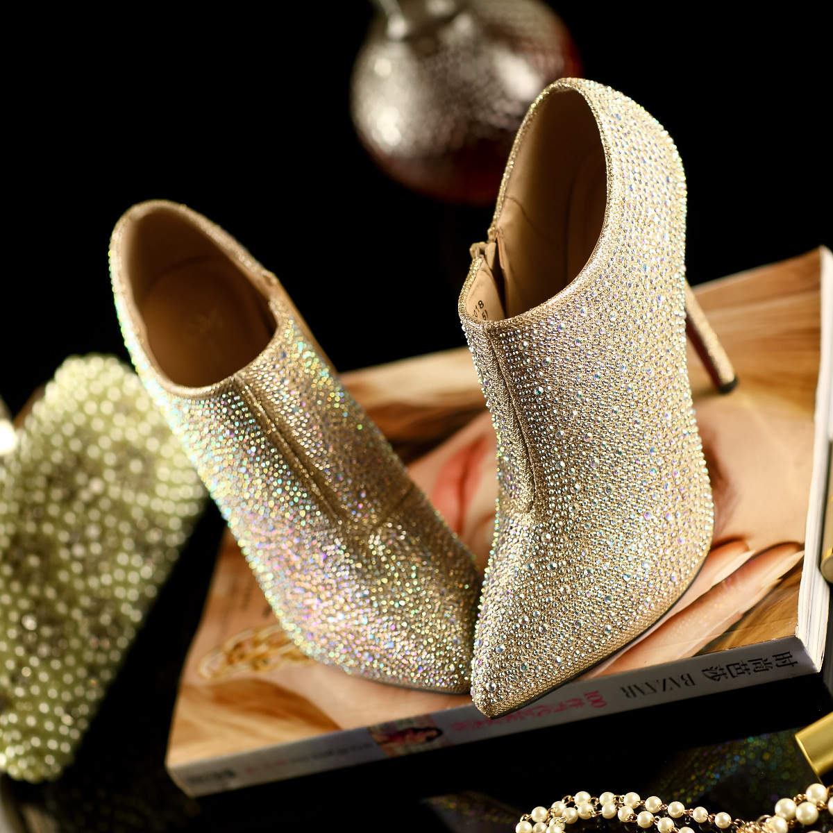 Aliexpress.com : Buy New Arrival light gold Rhinestone bare boots ...