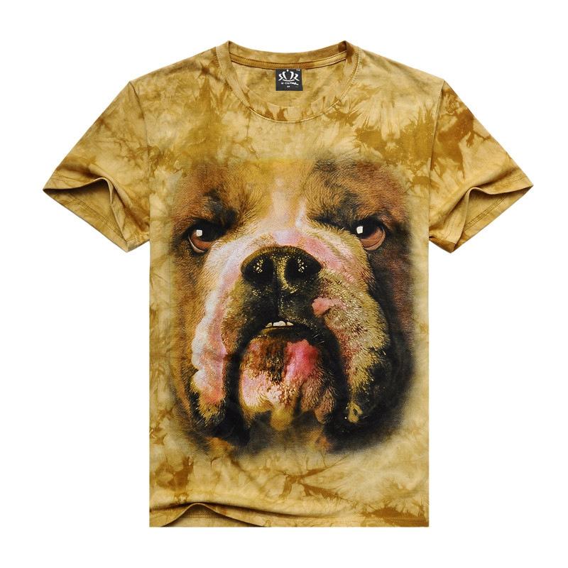2016 Promotion Novelty O-neck New Men's Short Sleeve T Shirt 3d Dog Elephant Wolf Orangutan Tie Dyed Trend Man Cotton T-shirt(China (Mainland))