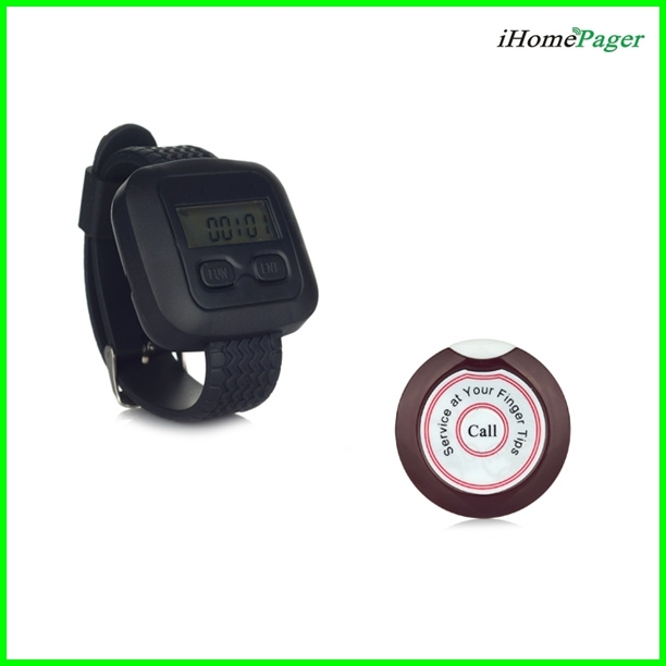 Waiter Paging System 20pcs of Table Button and 4 pcs of Wrist Watch Reciever Singcall ape700