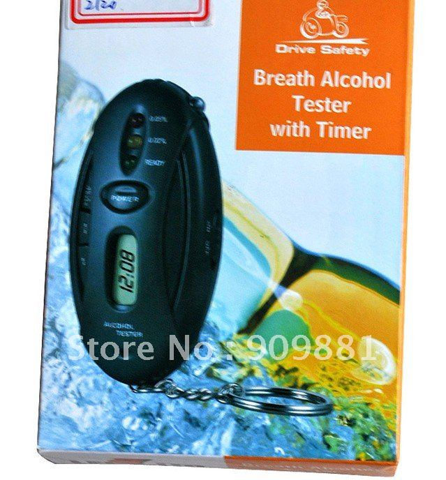 10pcs Mini keychain digital LCD Alcohol Analyzer Breath Tester with Flashlight function  free shipping
