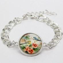 2015 Vintage Faith Jewelry Retro Flower Bird Glass Cabochon Bracelet Wome's Decoration Silver Bracelet Pulsera de la Mujer(China (Mainland))