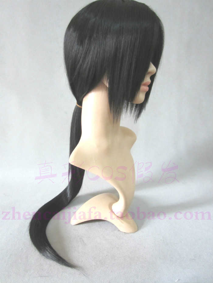black synthetic long straight heat resistant fiber Cosplay wig skunks aph knife dog cosplay - XUANCAI PARTY WIGS store