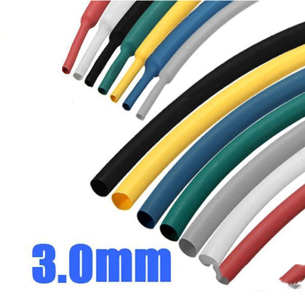 Barterine 1 8 Inch 1M 3.0MM 7Color 2:1 Polyolefin Heat Shrink Tube Sleeving Wrap(China (Mainland))
