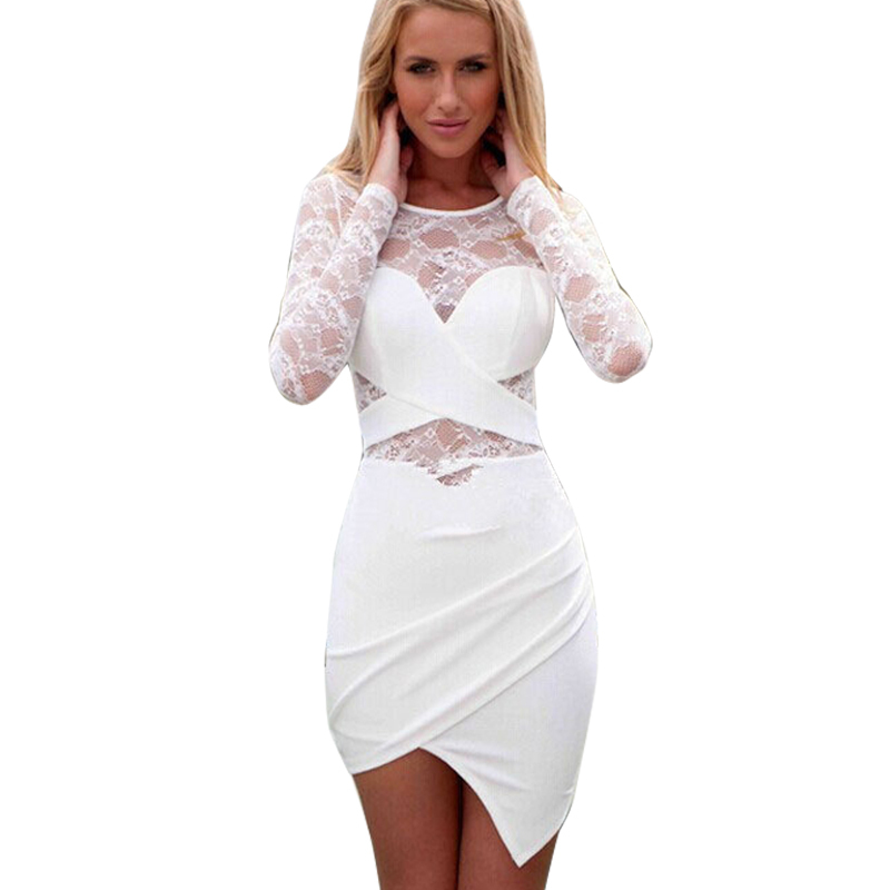 CD910 Summer sun dresses long sleeve patchwork white lace dress see-through sexy dress 2015 new fashion European bodycon dress(China (Mainland))