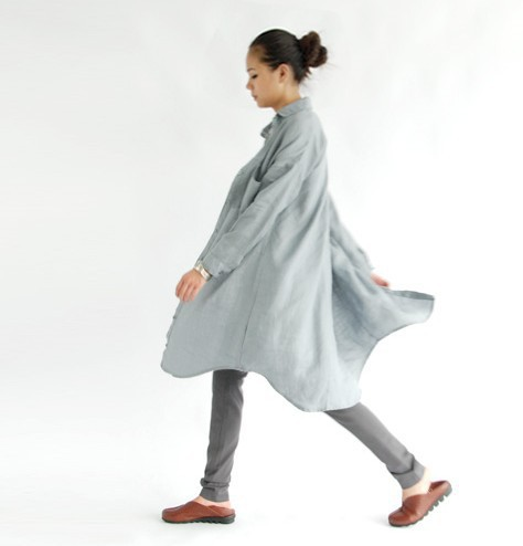 2014 New Arrival  literature and art atmosphere field long shirts Loose linen garment color  Women's Clothing 15843(China (Mainland))