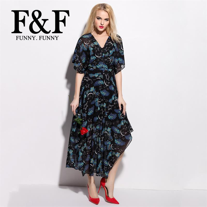Brief Star Moon Print Floral Patchwork Long Maxi Plus Size Ladies Dress 2016 Summer Style V Neck Causal Dress Party FunnyFunny