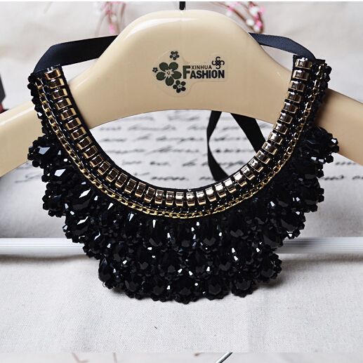Handmade False Collar Necklace Black Crystal Beads Women Charm Choker Accessories Trendy Jewelry - ABC Mall store