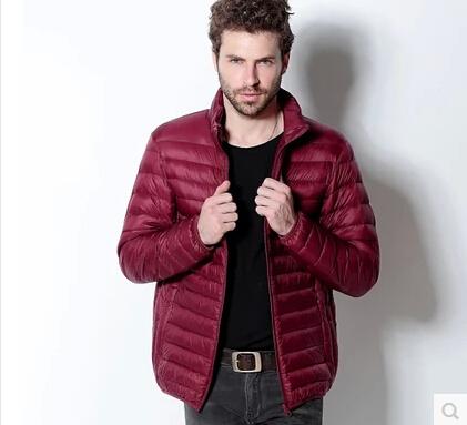 Новый осень зима утка пуховик мужчин ультра-тонкими длинными рукавами тонкий слой ...