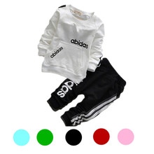New 2015 Baby boy girl Children Clothes Set Baby Set kids clothes family clothing tracksuit full sleeve t-shirt+pants 2pcs set(China (Mainland))
