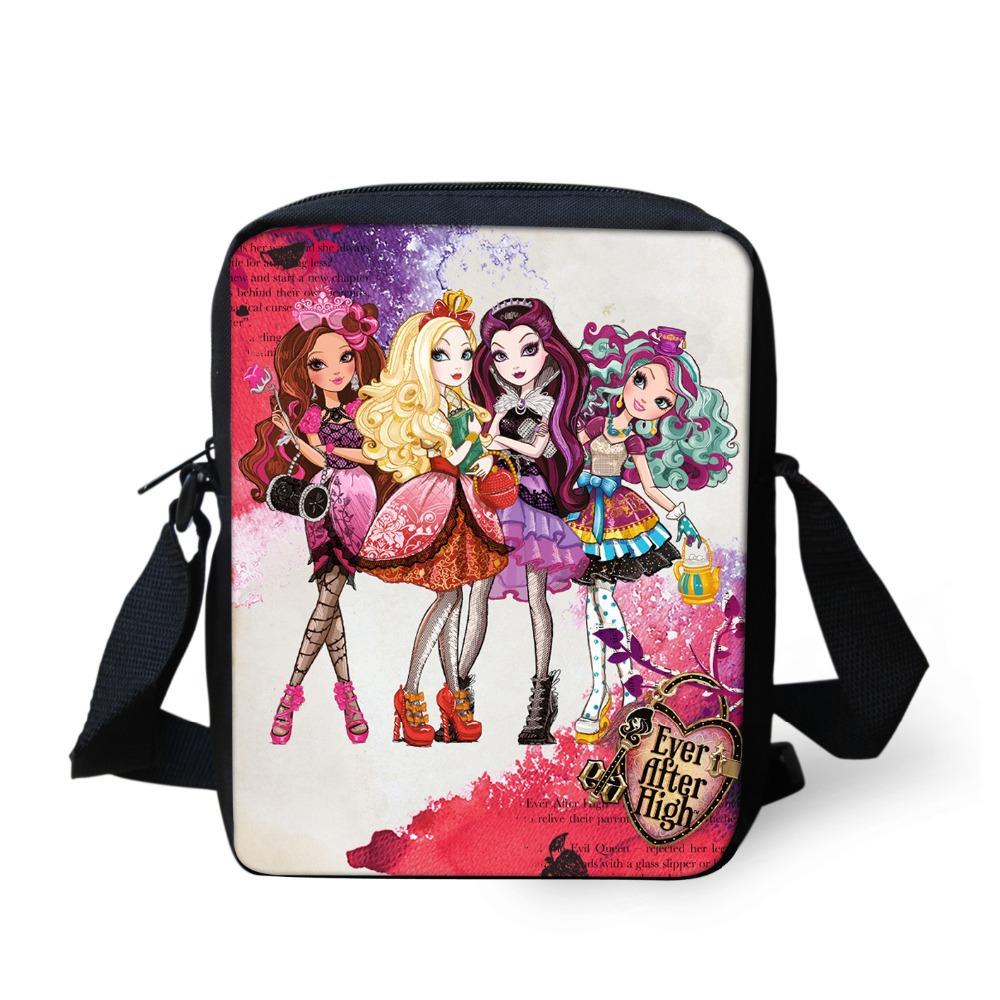 New brand designer women messenger bags cute ever after high doll cross body bag casual mujer girls cartoon small shoulder bag(China (Mainland))