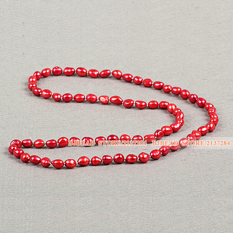 Simple Single Strand Fashion Long Style Natural Bright Red Baroque Pearl Necklace Sweater Chain For Wedding(China (Mainland))