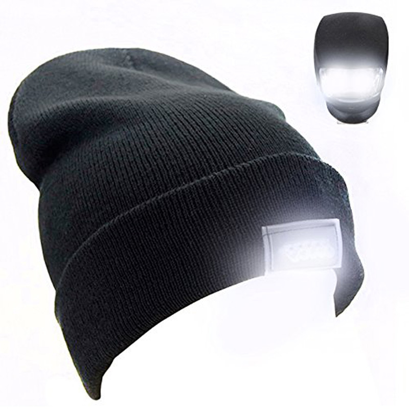 New 5 LED Lighted Cap Hat Winter Warm Beanie Angling Hunting Camping Running Golf Caps EA14(China (Mainland))
