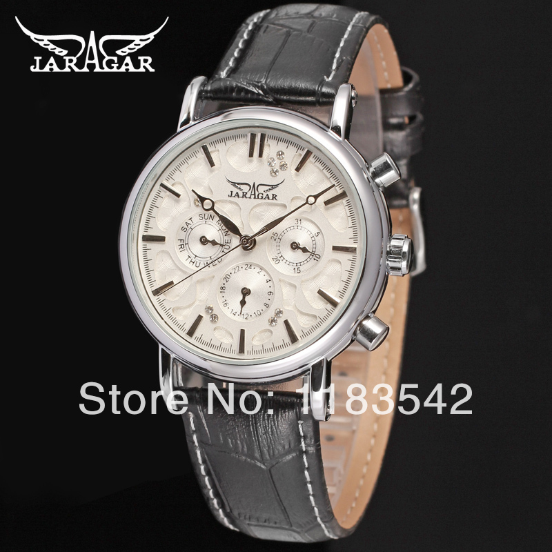 Jargar JAG6348M3S3 new men Automatic  fashion dress wristwatch silver color black leather  band   free shipping