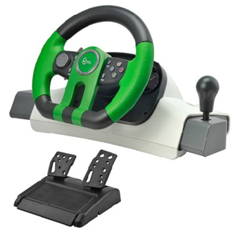 Curved 195 shock simulation automobile race game steering wheel pc usb computer vibration game steering wheel free shipping(China (Mainland))