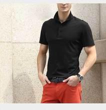 Nouveau 2015 été hommes d'affaires décontractée mince polo ralp hommes col couleur unie chemise 100% coton à manches courtes est polo