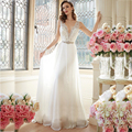 Sexy Deep V Neck Beach Chiffon Wedding Dresses Lace Wedding Gowns Vintage Bride Dresses Vestido De