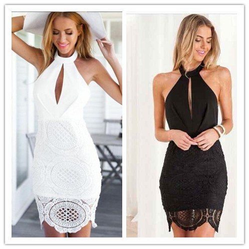 Black and White Color Ladies Sexy Lace Halter Mini Dress Hollow Out Club Night Dress HL Fashion Bandage Dress(China (Mainland))