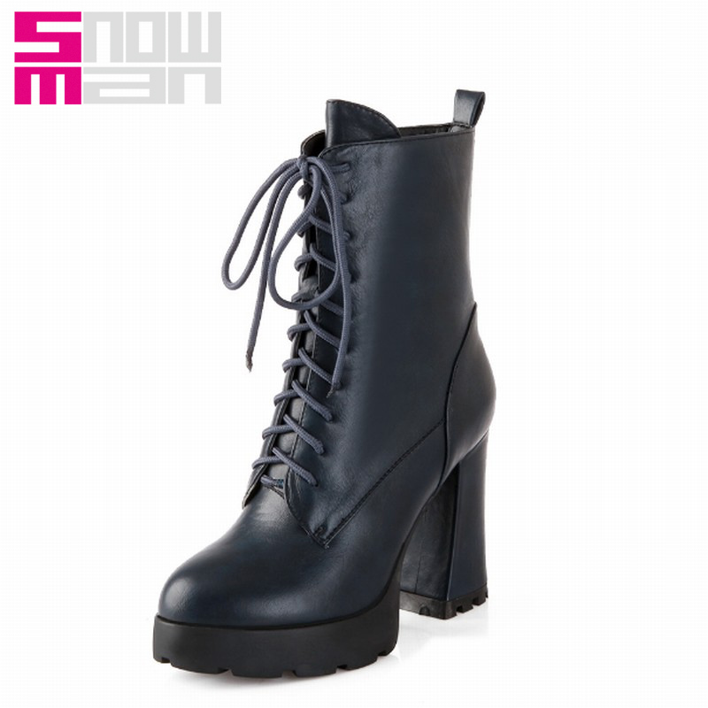 Vintage Lace up Short Boots Sexy Hoof High Heels Platform Shoes Fashion Autumn Winter Boots Zapatos Mujer Martin Boots 2015