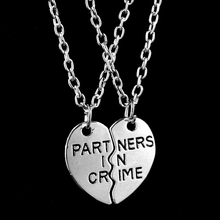 New Women Fashion Two Peach Hearts Splicing Partners In Crime Necklace Friends Necklace Gift Silver NL-0721-SV(China (Mainland))