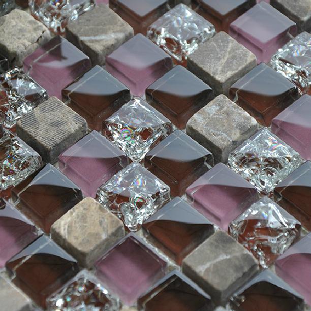 Purple Tile Backsplash Glass Mosaic Art Kitchen Tiles: Stone-glass-mosaics-tile-backsplash-kitchen-wall-crackle