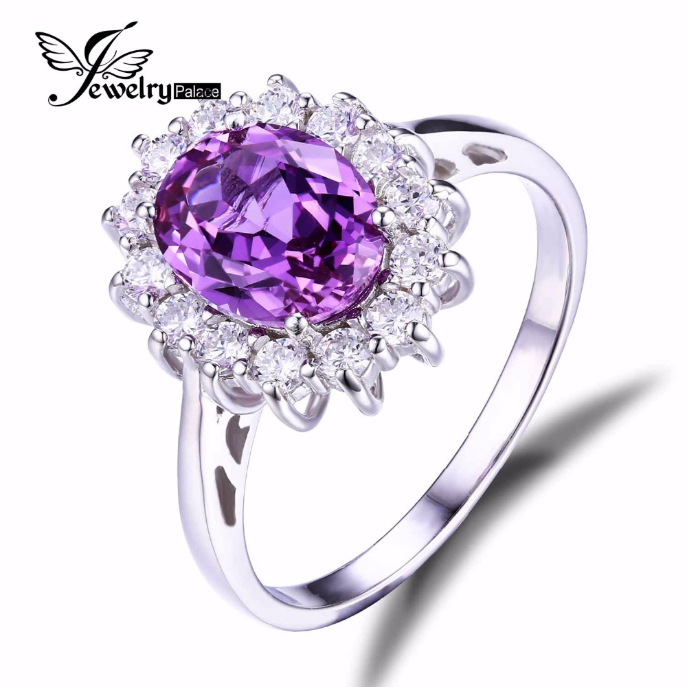 Luxury Princess Diana William Engagement Wedding 2.5ct Alexandrite Sapphire Ring Set Solid 925 Sterling Silver - Jewelrypalace store
