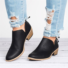 Damskie buty mody kostki solidne skórzane buty krótkie buty Martin wskazał stałe Martin buty pojedyncze buty jesień(China)