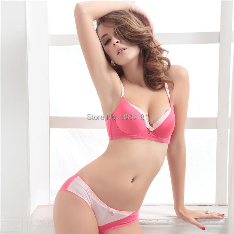 Ezing young girl underwear color block bra fashion bra set(China (Mainland))