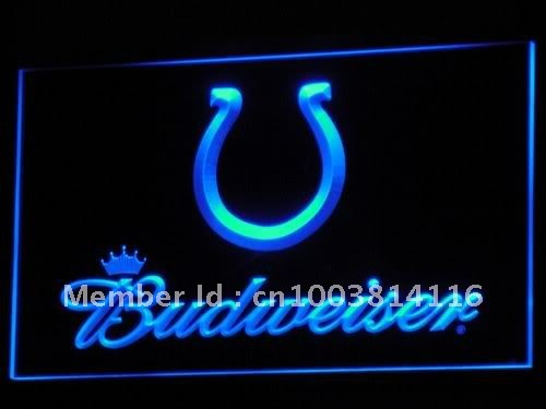 b277-b Indianapolis Colts Budweiser LED Neon Sign with On/Off Switch 7 Colors to choose(China (Mainland))